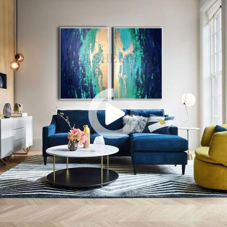 Painting On Canvas Abstract Painting Set Of 2 Paintings Contemporary Art Abstract Art Original Blue Sofas Living Room Blue Couch Living Room Blue Sofa Living