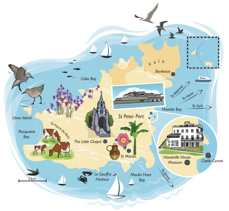 Joanna Kerr New Division Map art, St pierre, St peter port