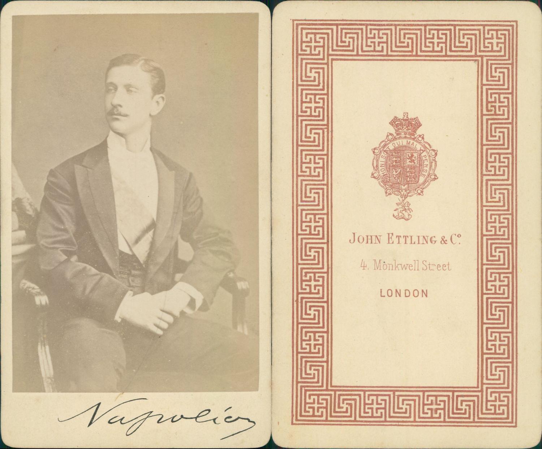Prince Louis Napoleon Imprial Signature Manuscrite Original Signture CDV Portraits Familles Royales Et Impriale