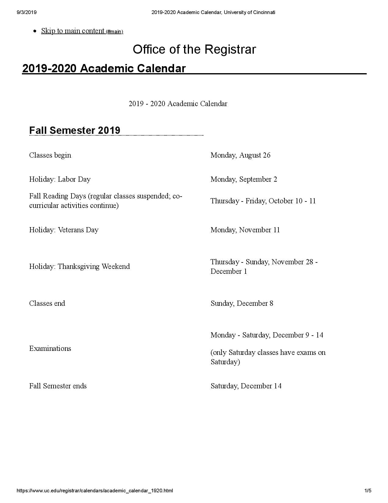 University Of Cincinnati Academic Calendar Images Academic