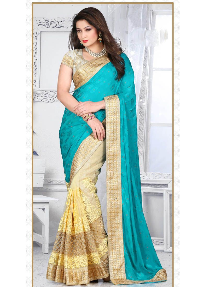 Blue Jacquard Half N Half Saree With Resham Work