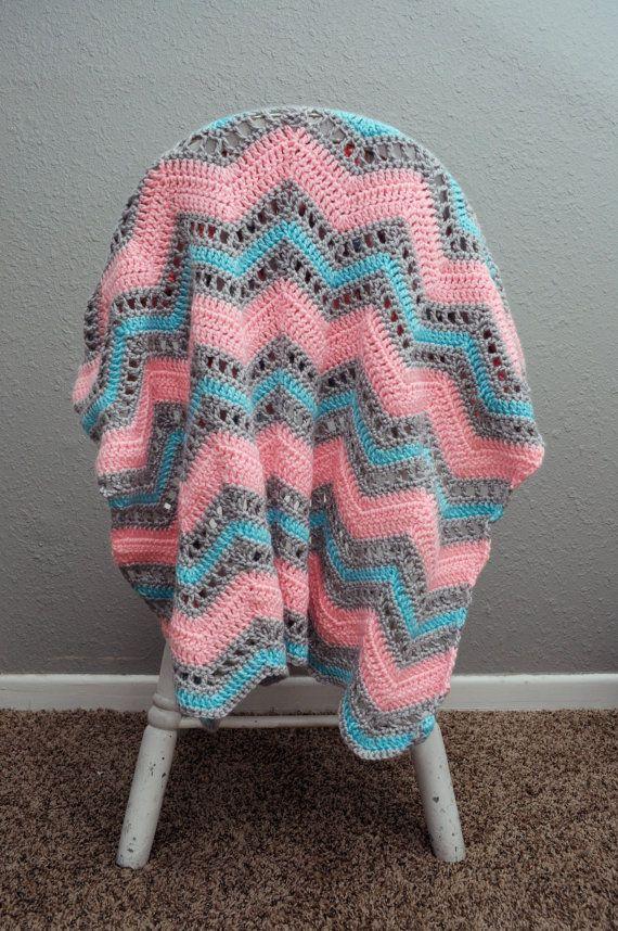 Crochet bebé manta niña rosa azul y gris por TraedensTradingShop