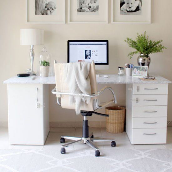 Desk With Marble Adhesive Paper