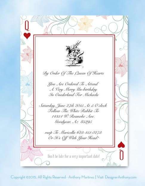 Free Template Free Alice In Wonderland Printable Invitation. Download:  Illustrator File Printing: File  Invitation Free Download