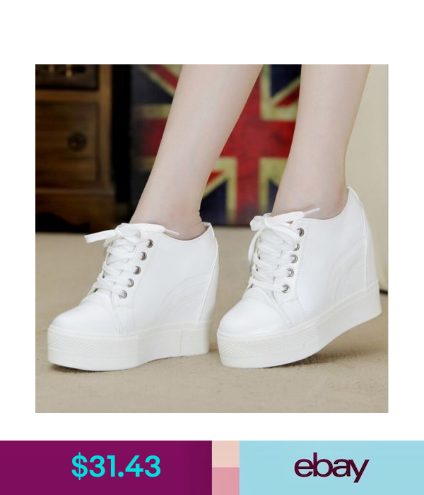 Womens Platform Shoes Round Toe Hidden Wedge Heel Fashion Sneakers Athletic Size