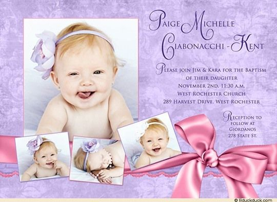 Purple Baptism Invitation - Pretty Pink Baby Girl Photo | Baptism ...