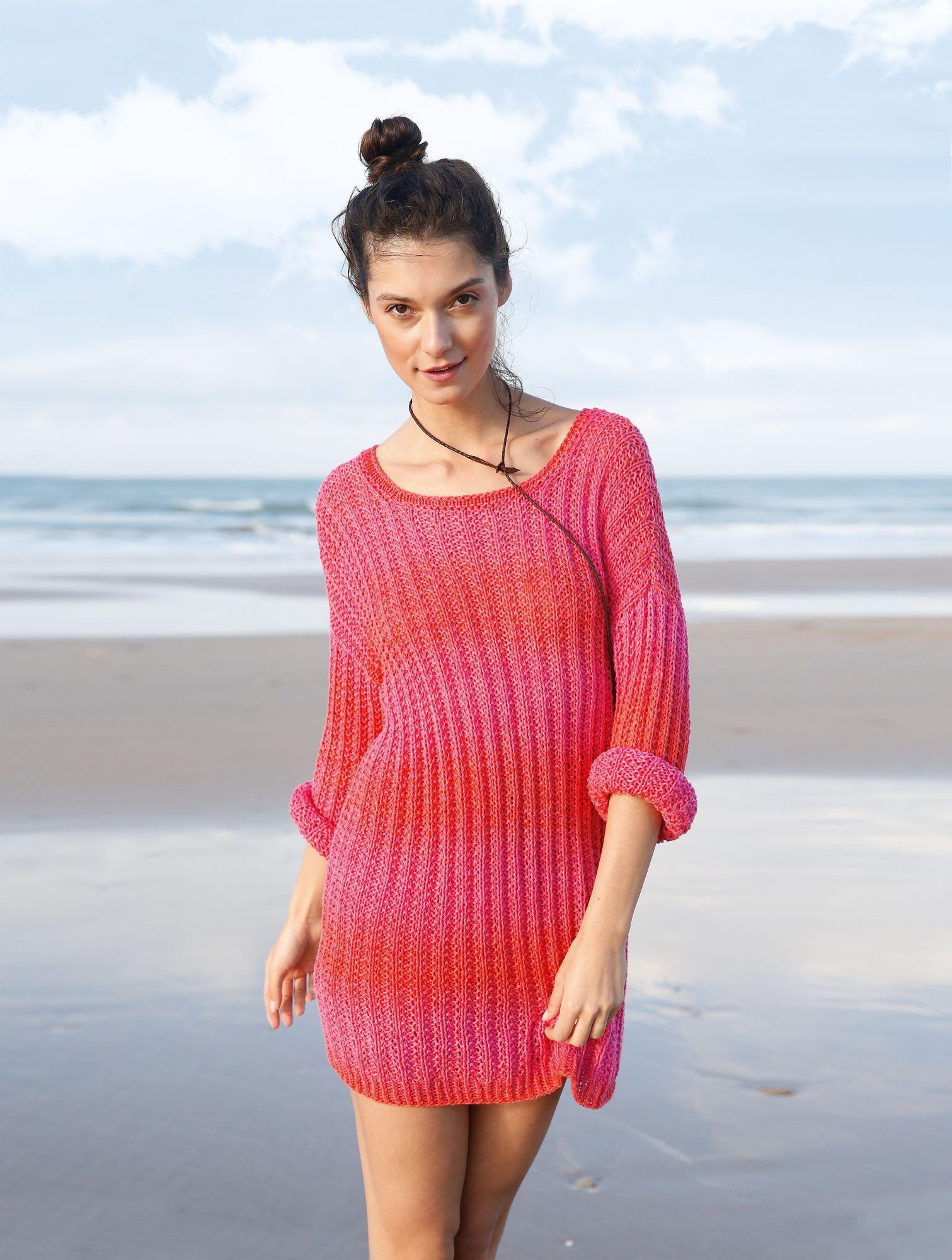 oversized look weiten pullover mit strukturmuster in pink koralle selber stricken mit einer. Black Bedroom Furniture Sets. Home Design Ideas
