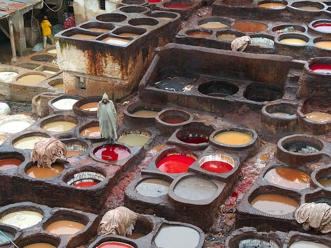 Unique travel destinations: Fès, Morocco The ancient Leather Souq is the world's oldest leather tannery. Numerous stone pots are filled with different coloured dyes, a practice that dates back to the 11th century.