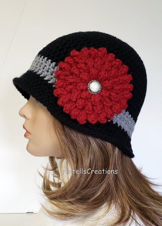 f07dcc8fa Black Crochet 1920s Flapper Cloche Bucket Hat, Vintage Style 1920s ...