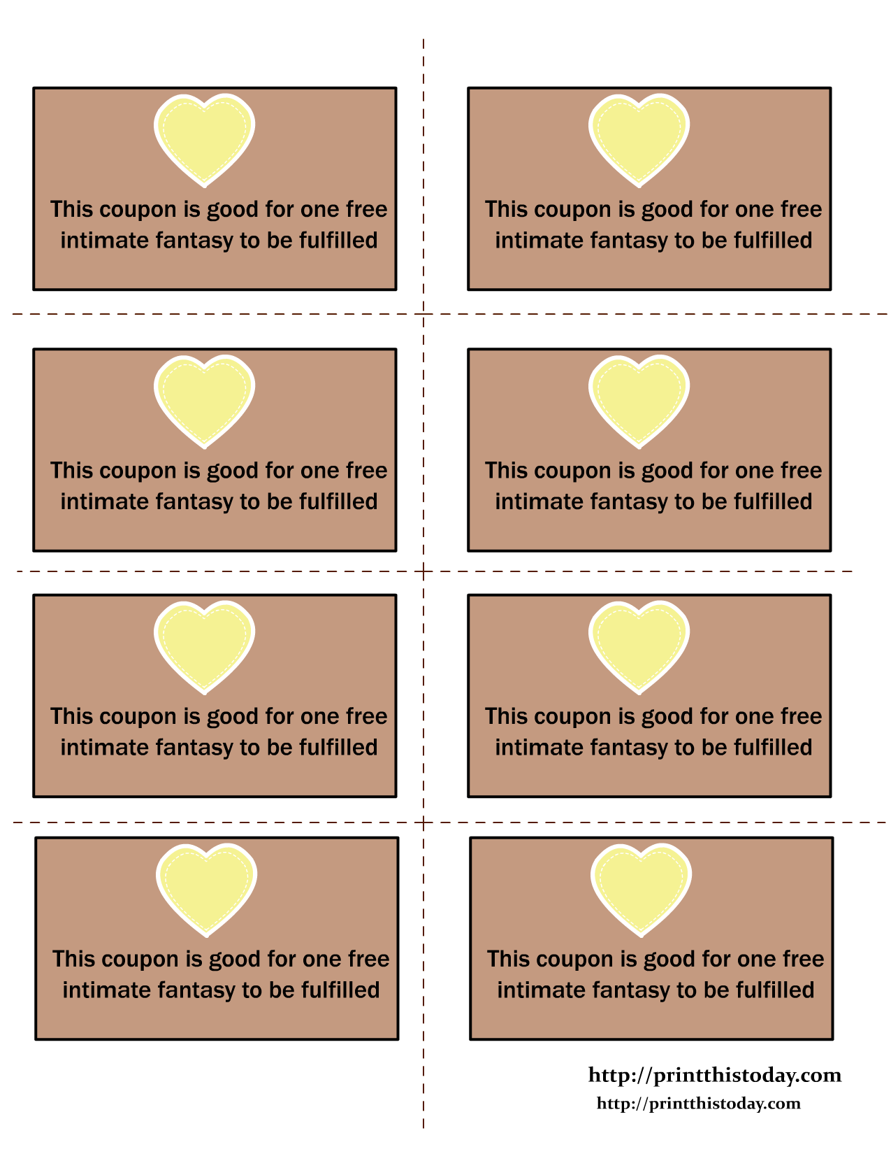 romantic coupon book template - love coupons for fulfillment of one intimate fantasy all