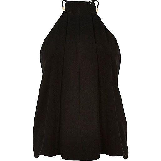 Black halter strappy cami - cami / sleeveless tops - tops - women