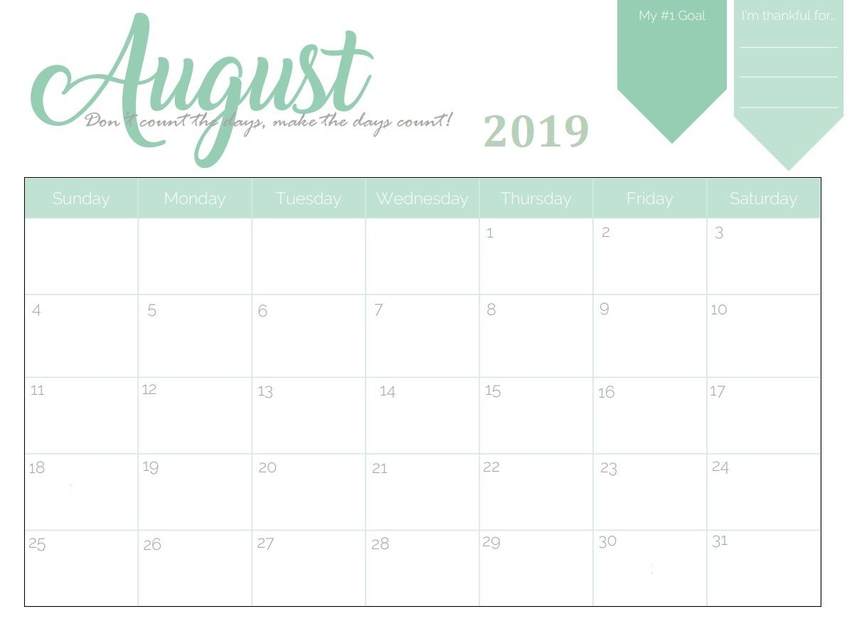 Free Printable 2019 Monthly Calendar With Images Calendar