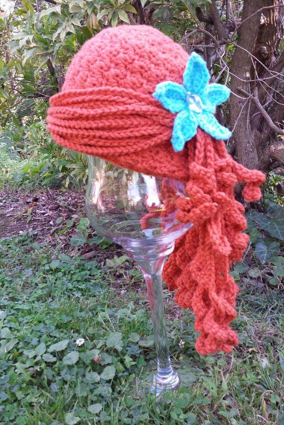 PATTERN Little Mermaid Ariel Inspired Crochet Wig Hat | Gorros ...