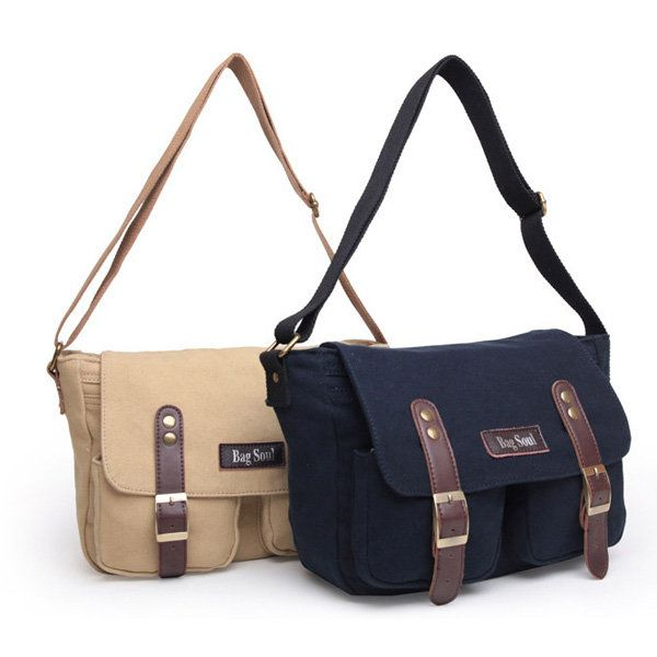 Retro Casual Message Bag Canvas Sling Bag Patchwork Crossbody Bag ...