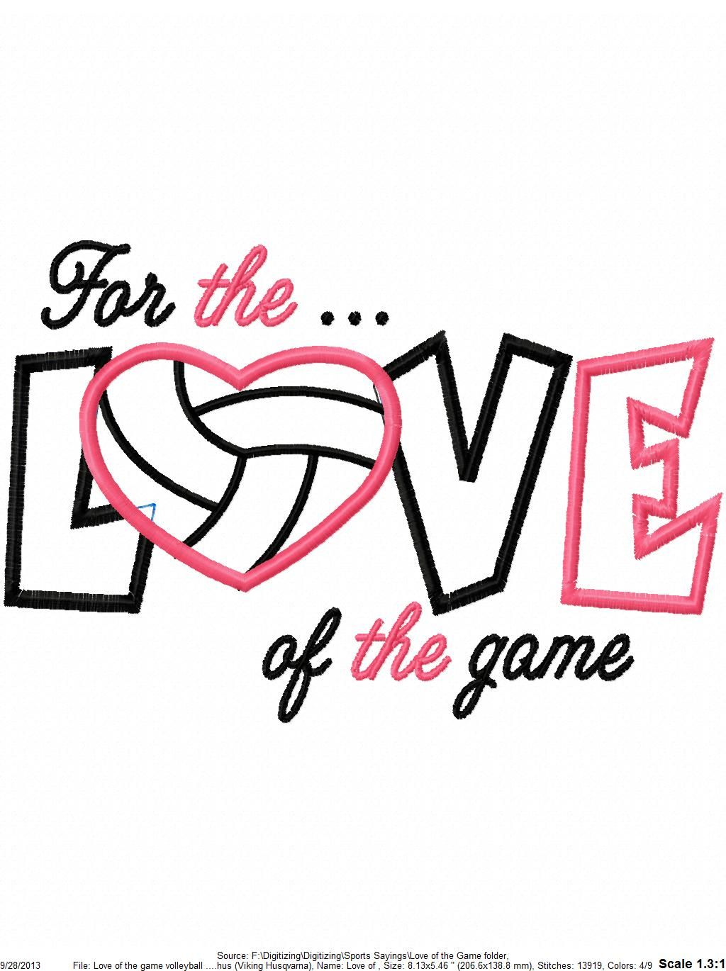 Download For the love of the game volleyball applique   Volleyball ...