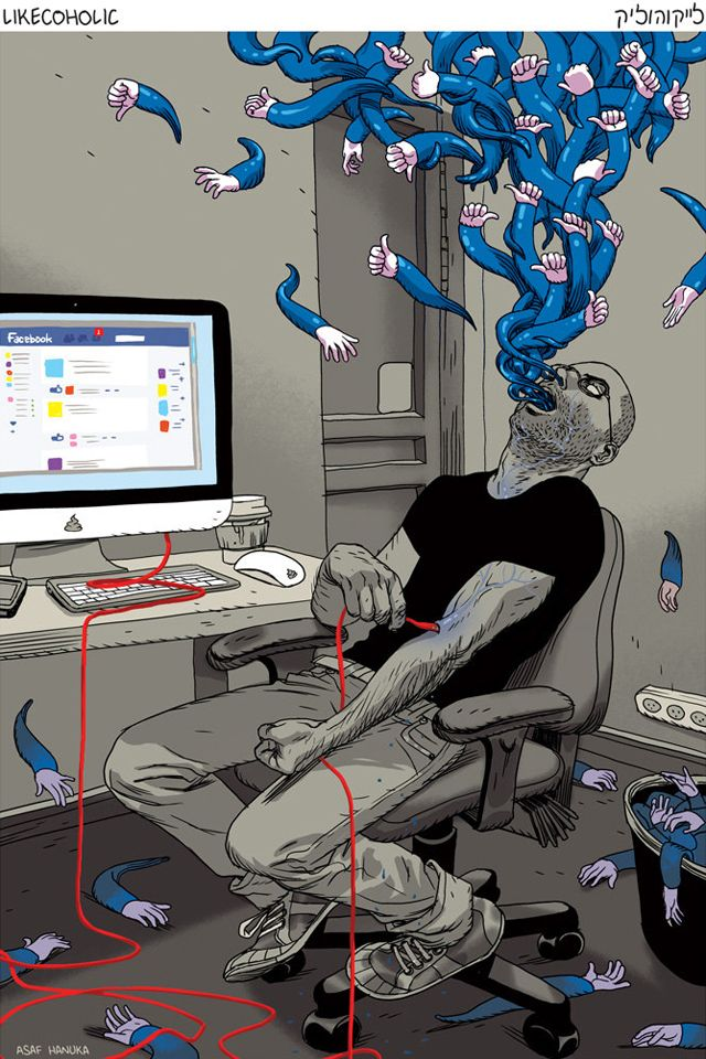 Facebook Likes Art Yahoo Image Search Results Art Social - Cartoon mural man obsessing facebook likes says lot society