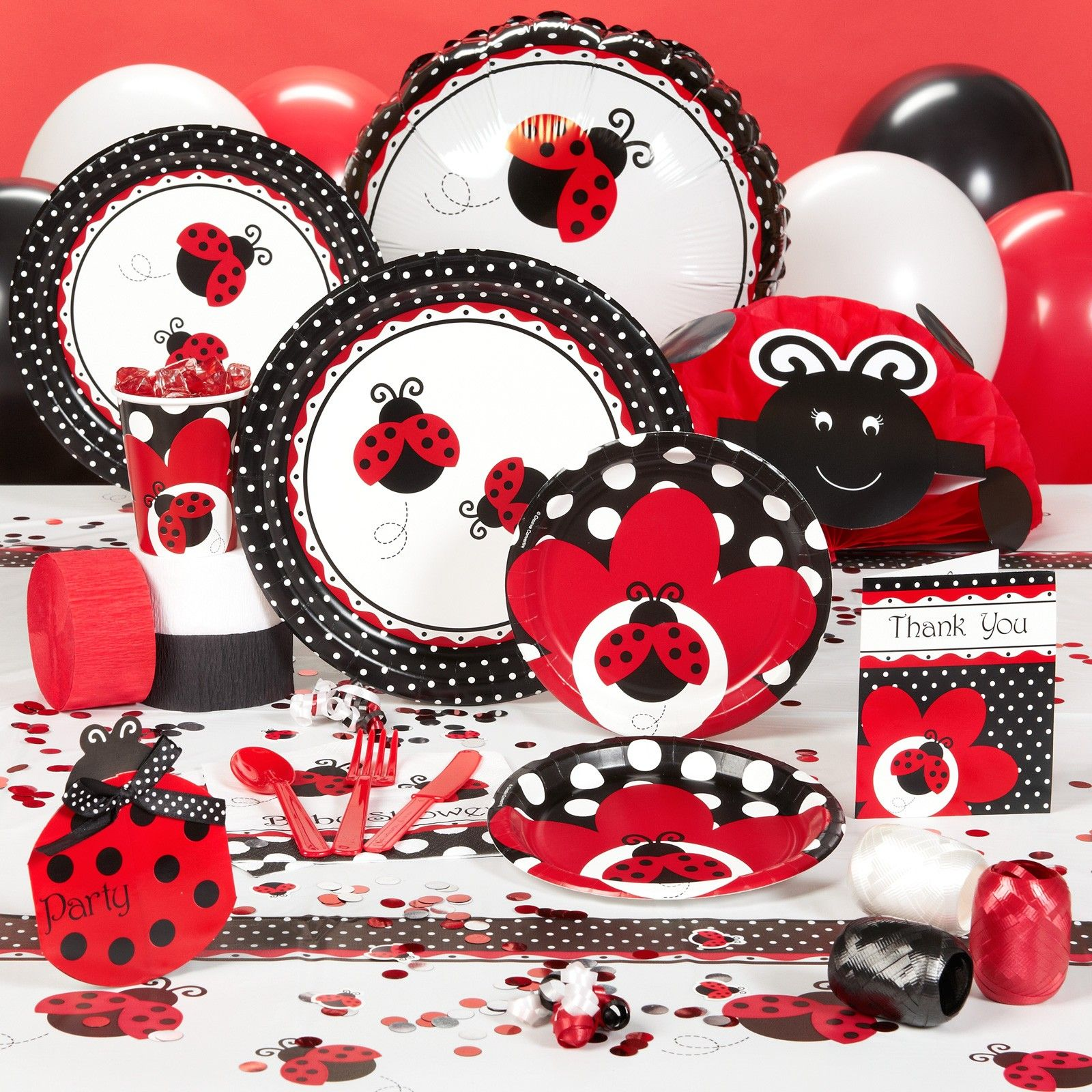 ladybug fancy birthday and baby shower. complete line including, Baby shower invitation