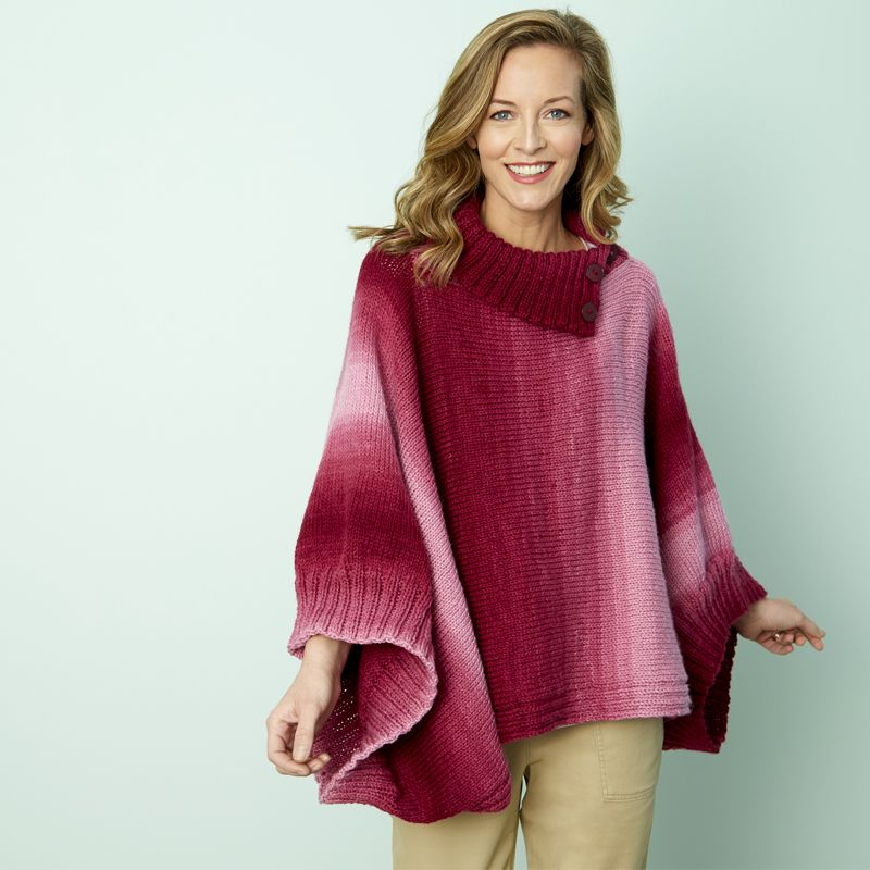 Napa rib collar ombre poncho - knit your own poncho - free knit ...