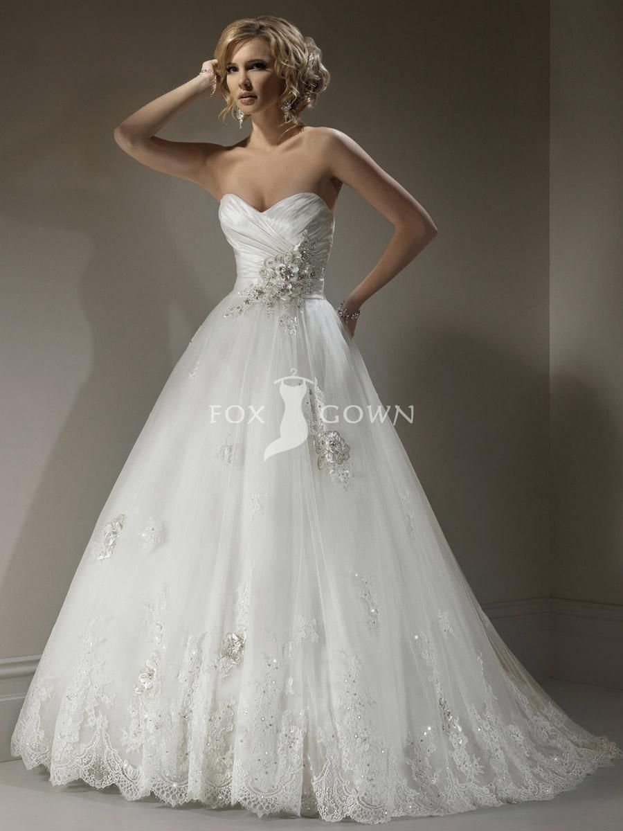 new strapless designer lace wedding dress with handmade flowers at ...