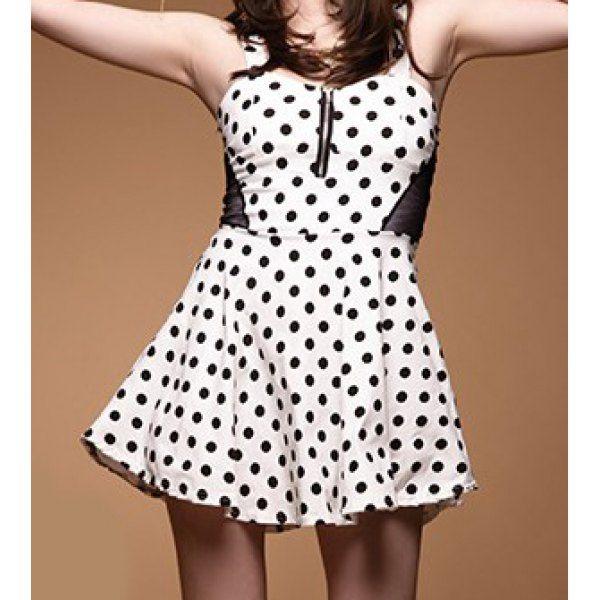 Polka Dot Color Block Sleeveless Sexy Style Zipper Embelished Women's Dress, WHITE, ONE SIZE in Dresses 2014 | DressLily.com