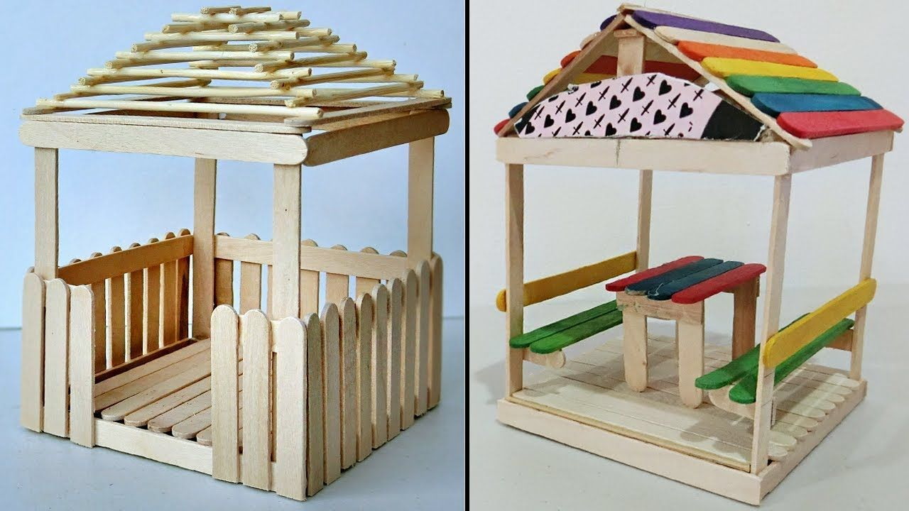 5 Mini Relaxing Huts Popsicle Stick Crafts Compilation Popsicle Stick Crafts House Popsicle Stick Crafts Diy Popsicle Stick Crafts
