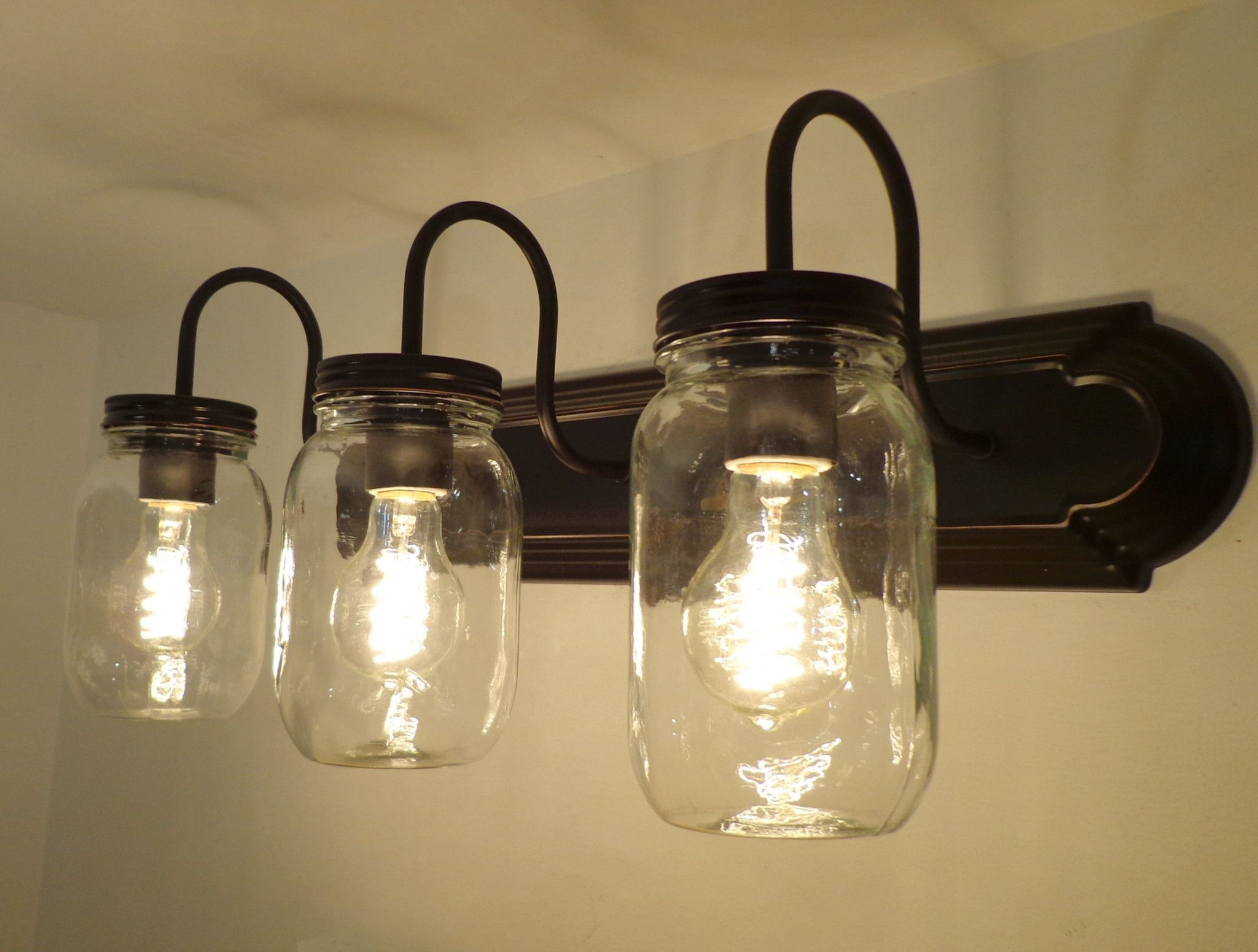 Mason Jar Bathroom Light Mason Jar Bathroom Vanity Wide Mouth 3 Light Clear Mason Jar