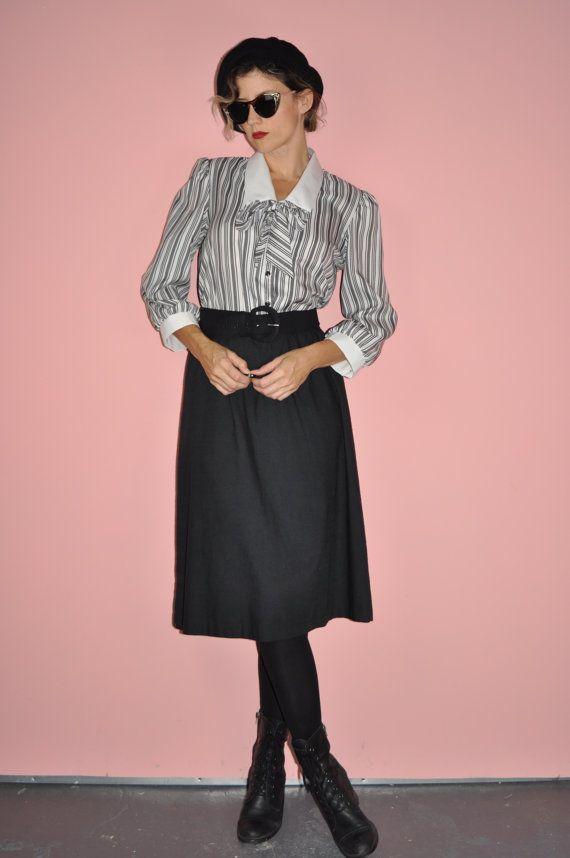 Vintage 80s Black And White Secretary Striped By Whitecityvintage