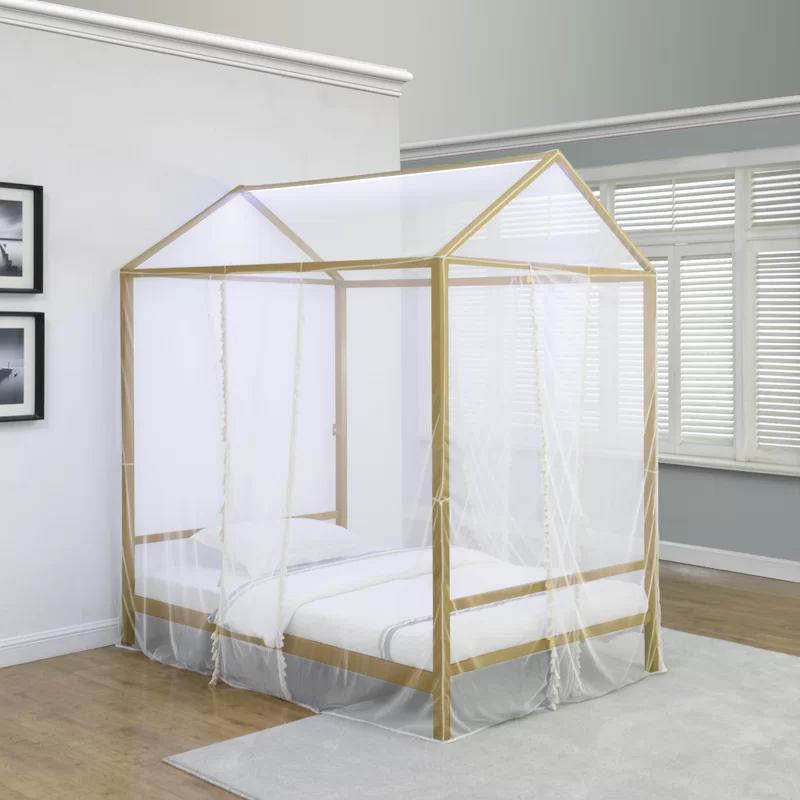 Ashland Upholstered Low Profile Canopy Bed in 2020 Twin