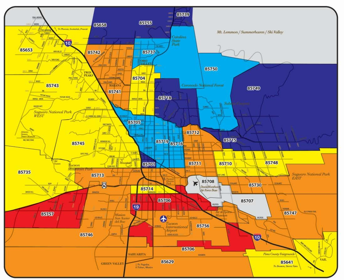 Map Of Tucson Arizona Zip Codes.Zip Code Tucson Map Zip Code Map Information Tucson Map Zip
