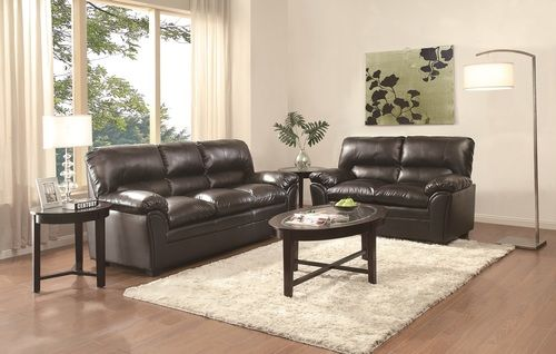 2 PC Homelegance Talon Black Bonded Leather Match Sofa And Loveseat 8511BK