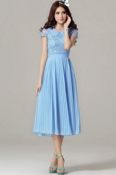 Floral Embroidery Pleated Chiffon Dress Oasap Com A Wendy