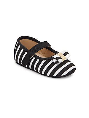 kate spade new york Baby's Striped Mary Jane Flats - Black - White - S