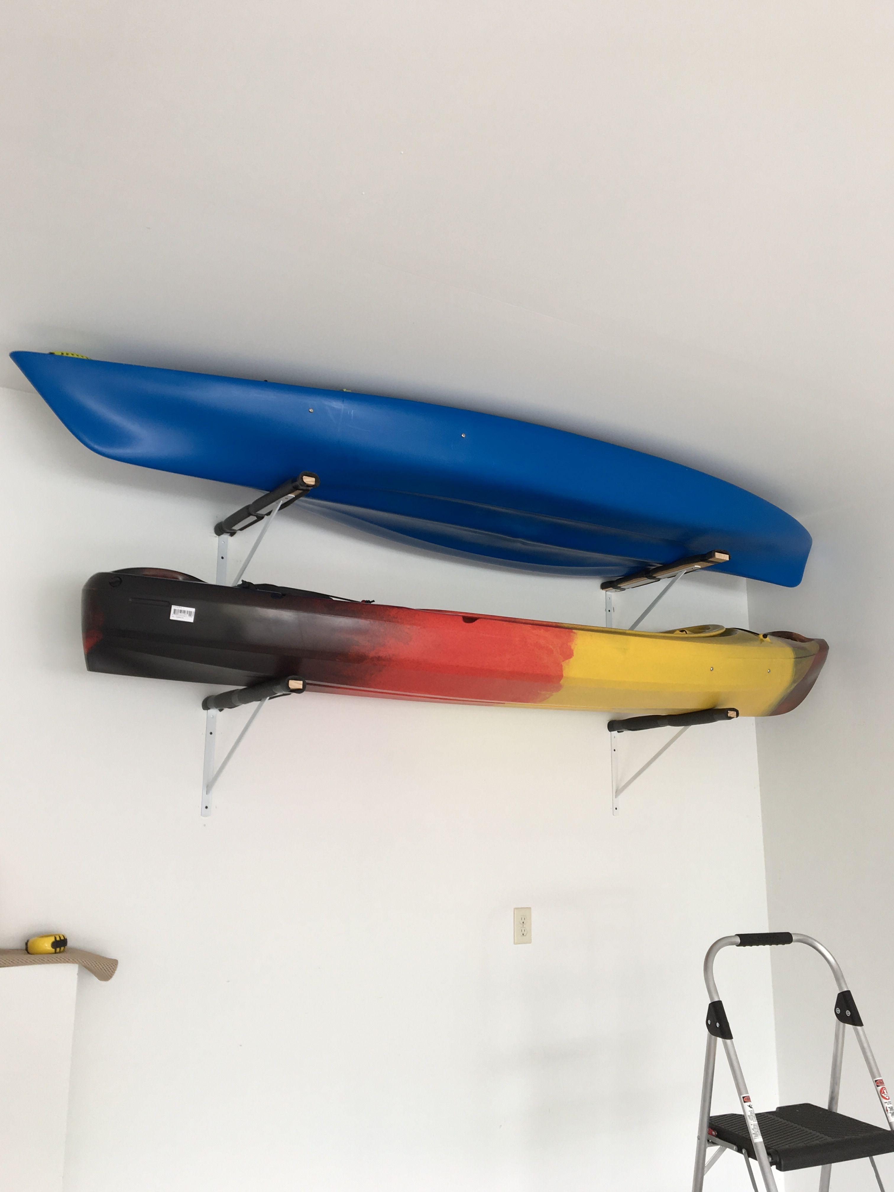 Kayak Storage With Shelf Brackets And Pipe Insulation