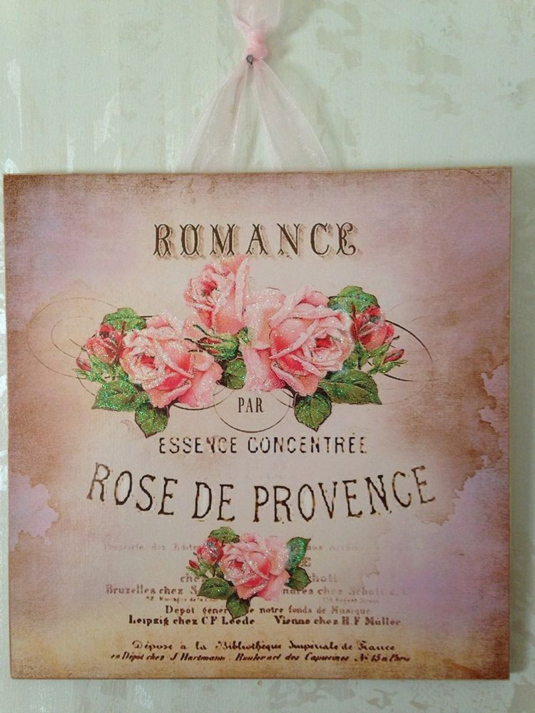 Vintage Paris Shabby Pink Postcard Wall Decor Sign Plaque French Country Chic