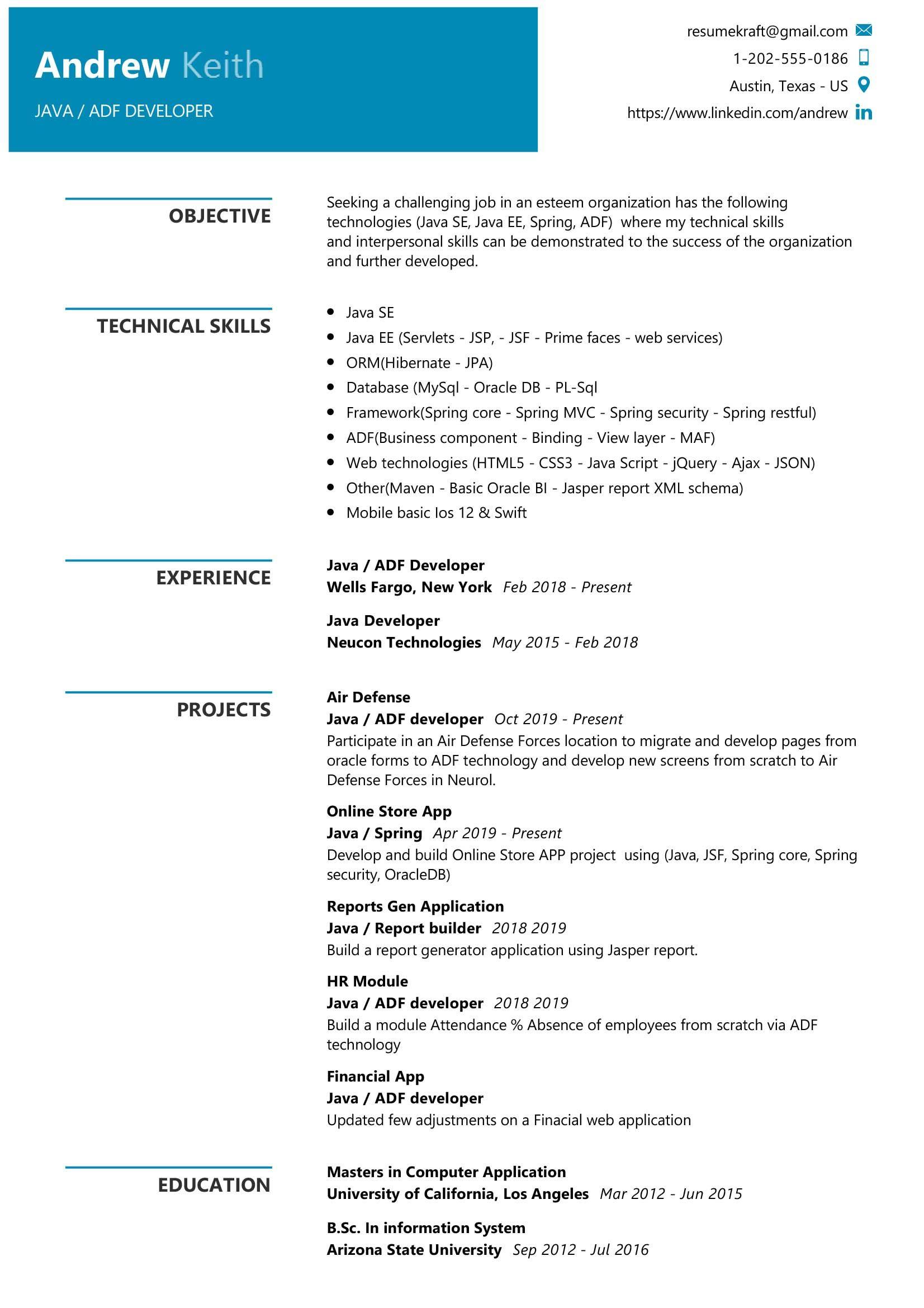 Java Developer Sample Resume Resume Examples Security Resume Professional Resume Samples