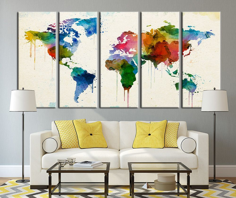 Watercolor world map canvas print large wall art watercolor world colored watercolor world map canvas print large wall art watercolor world map canvas art print no017 gumiabroncs Image collections