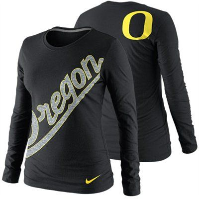 No. 10 - Nike Oregon Ducks Women's Angled Script Long Sleeve Tri-Blend T-Shirt - Black