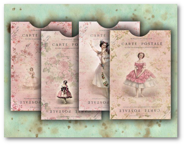 Vintage Ballerina Pink Envelopes DOWNLOAD