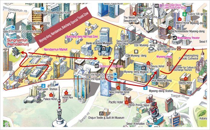 NamdaemunMyeongdong Shopping Course guide book Pinterest