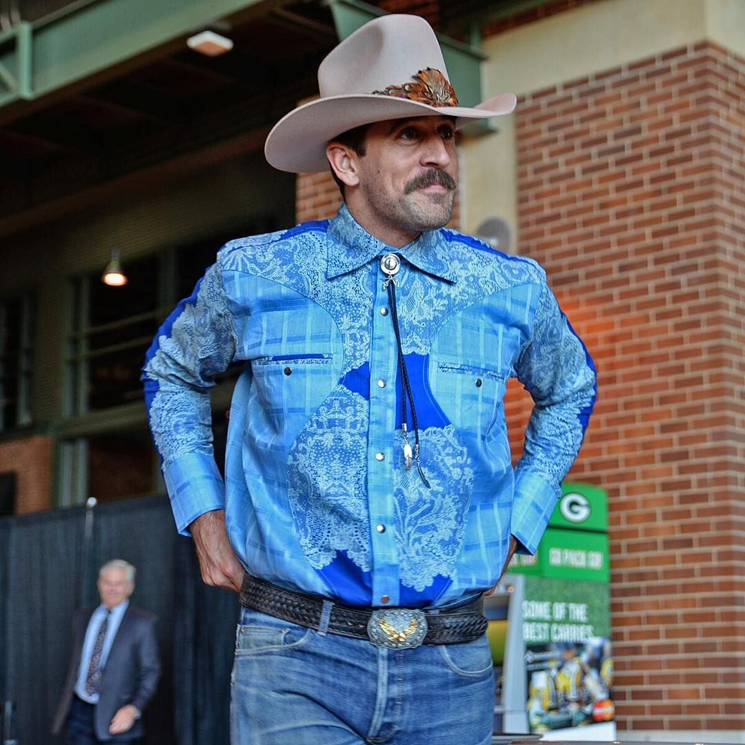 Aaron Rodgers Never Disappoints With His Packers Welcome Back Luncheon Look Aaron Rodgers Green Bay Packers Packers
