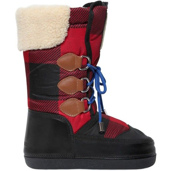 Dsquared2 Women Plaid Nylon & Leather Snow Boots ($385) ❤ liked on Polyvore  featuring