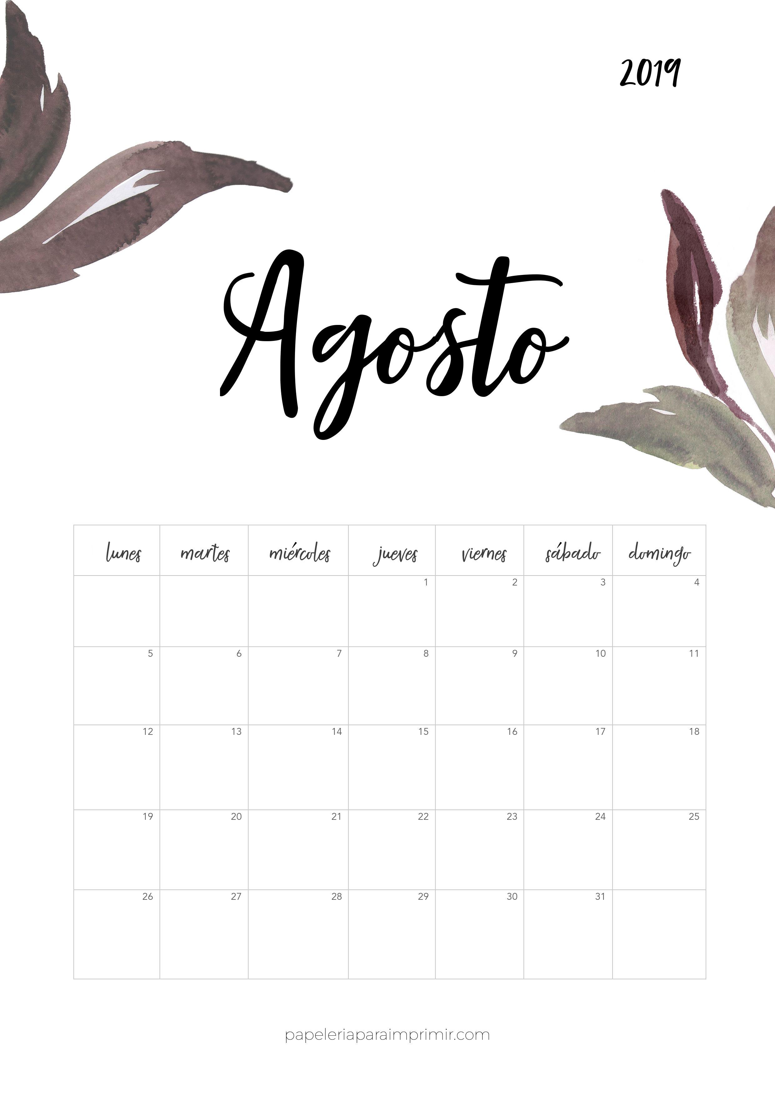 Calendario Agosto 2020 Para Imprimir Gratis.Calendario Para Imprimir 2019 Agosto Calendario Calendar