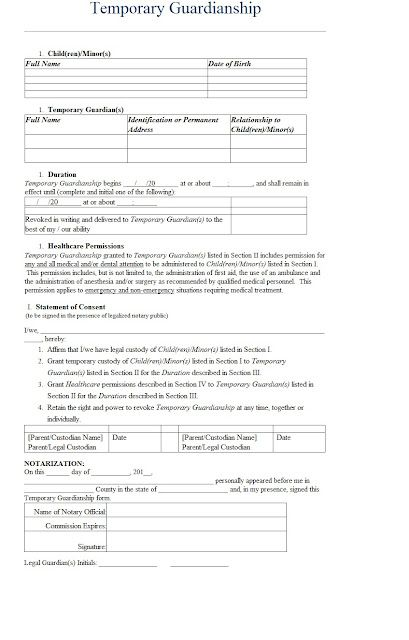 temporary guardianship letter template sample