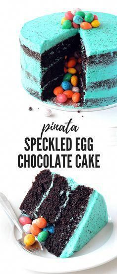 Photo of This gorgeous three-layer chocolate cake is covered with speckled egg frosting A…