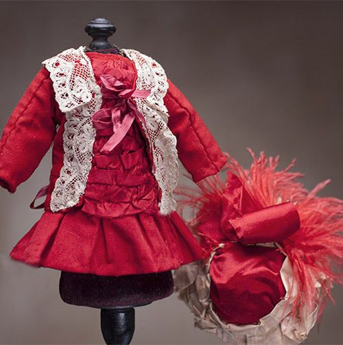 """Antique French Small Woolen Red Dress +Hat for Tiny Jumeau Bru Steiner doll 10"""""""
