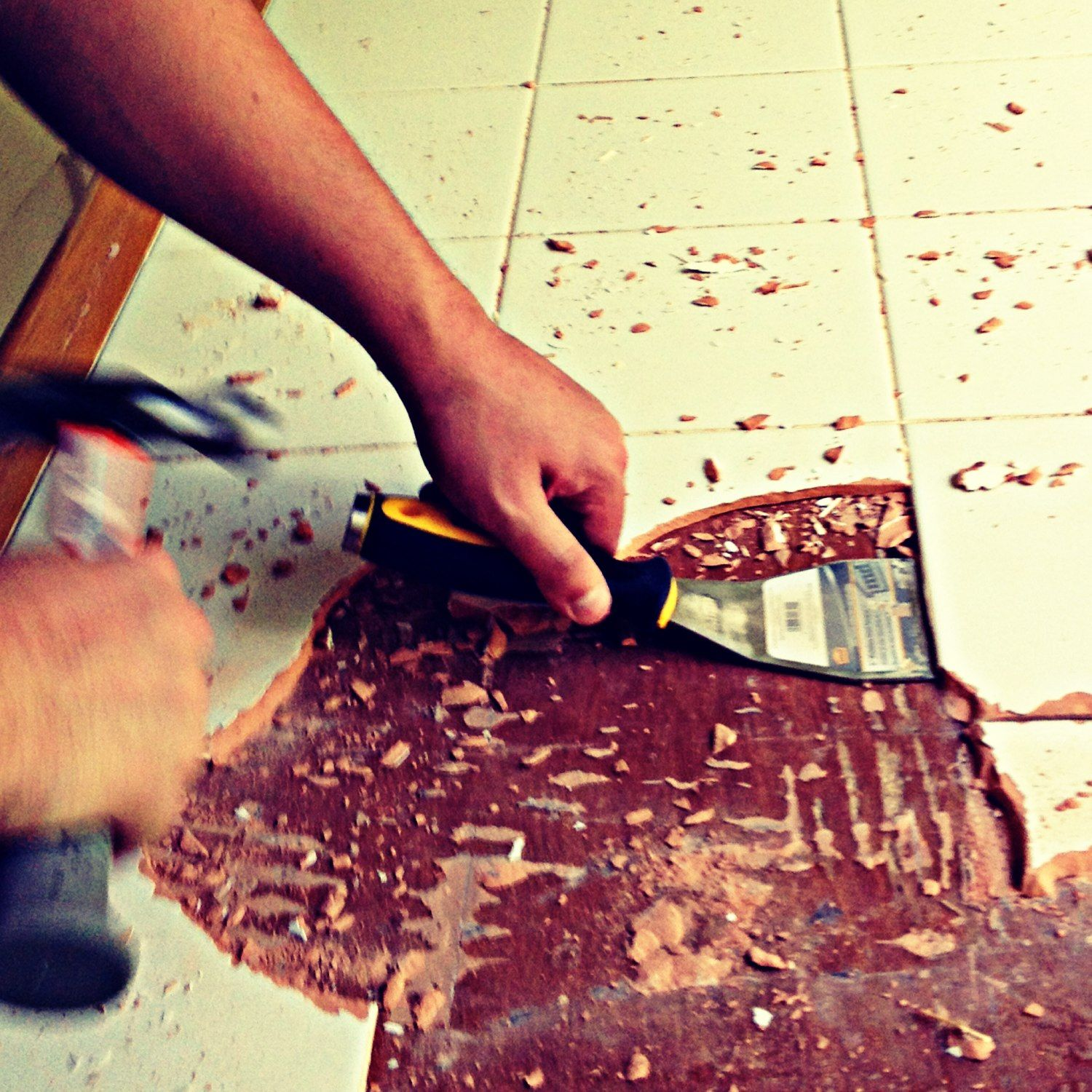 Table Makeover Part 1 Removing Tile From A Table My Story