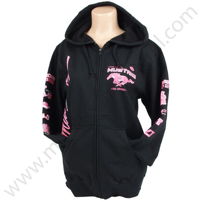 Ladies T Shirt Ford Mustang Pony Tri Bar Design Women S: Screen Printed Mustang Hoody With Zipper For Women $45.00