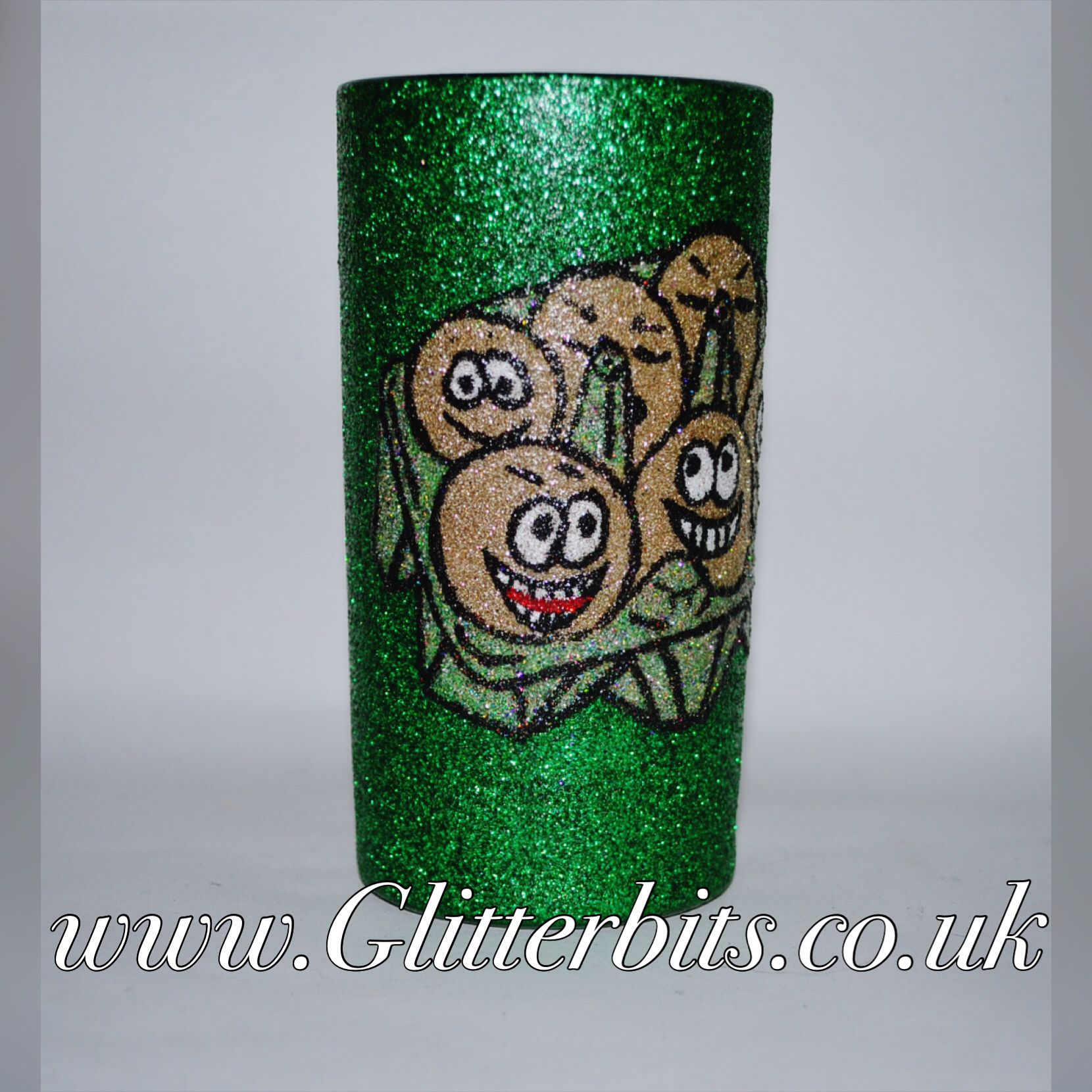 Green handmade Easter egg box tumbler glass.