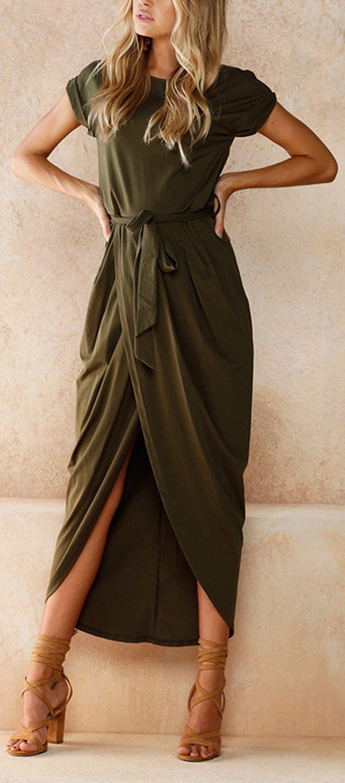 Madison Tie Up Waist T Shirt Long Drape Wrap Maxi Dress Short Sleeve Maxi Dresses Fashion Solid Maxi Dress [ 2664 x 1174 Pixel ]