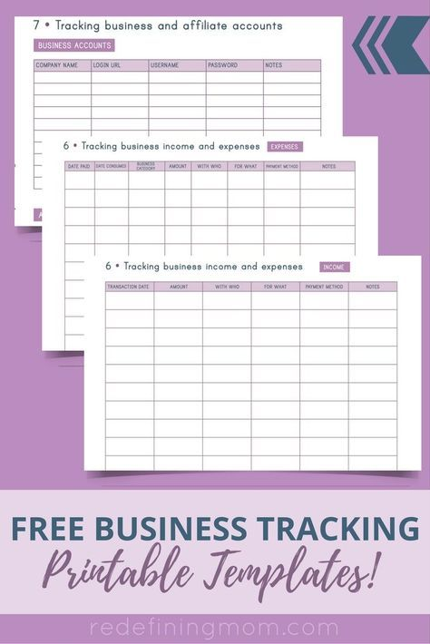 FREE Business Tracking Printable Templates STUFF Pinterest - business expense spreadsheet template